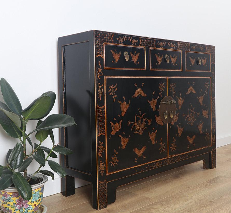 Chinese dresser sideboard 3 drawers 2 doors painted black