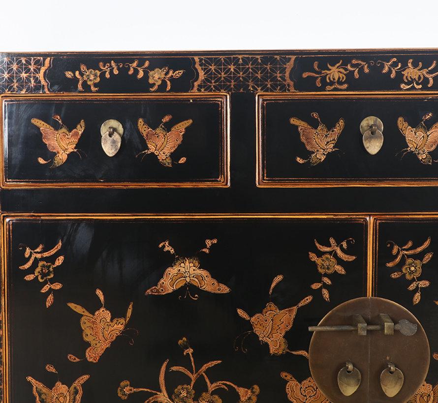 chinesische Kommode Sideboard 3 Schubladen 2 Türen bemalt schwarz