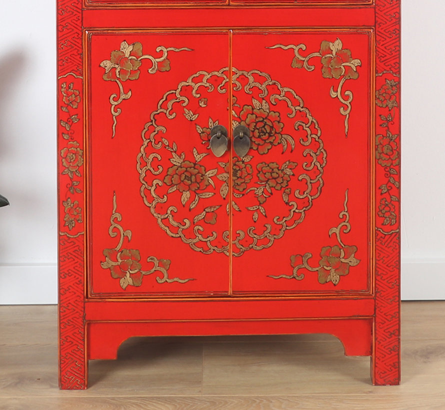 Chinese dresser wedding cabinet 6 doors painted red
