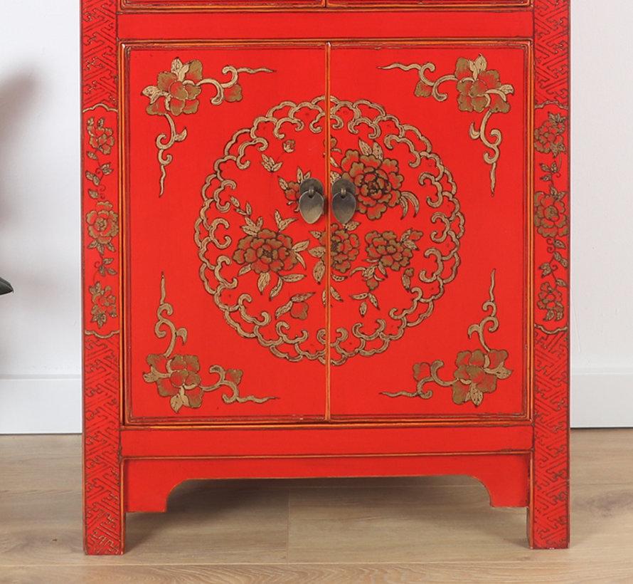 chinesische Kommode Hochzeitsschrank 6 Türen bemalt rot