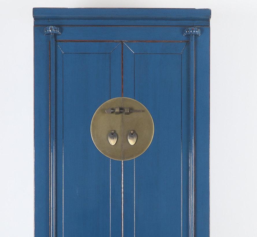 Chinesischer Hochzeitsschrank 2 Türen 1 Schublade blau