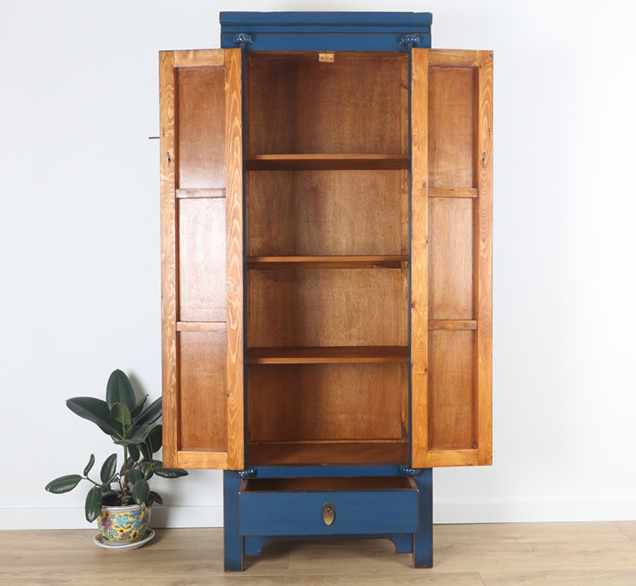 Chinese wedding cupboard 2 doors and 1 drawer blue