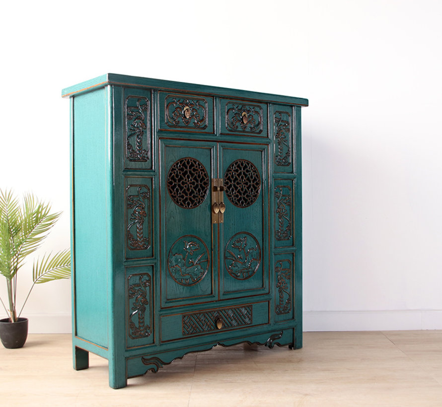 Chinese chest of drawers sideboard 2 doors 3 drawers turquoise
