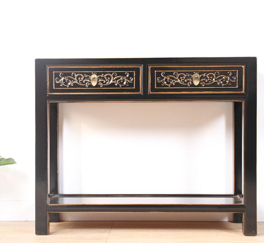 Konsole Konsolentisch mit 2 Schubladen aus massivem Holz schwarz