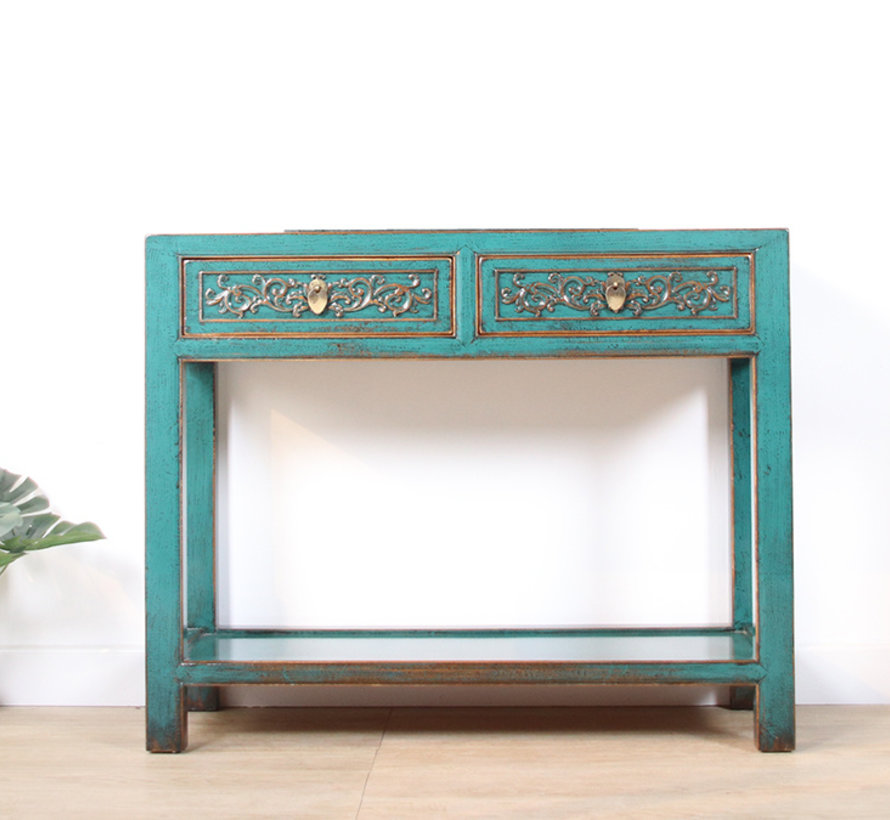 Console console table with 2 drawers in solid turquoise wood
