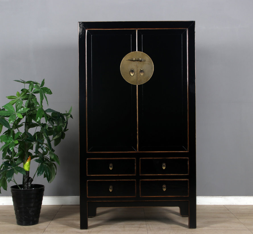 Chinese wedding cabinet 2 doors 4 drawers black
