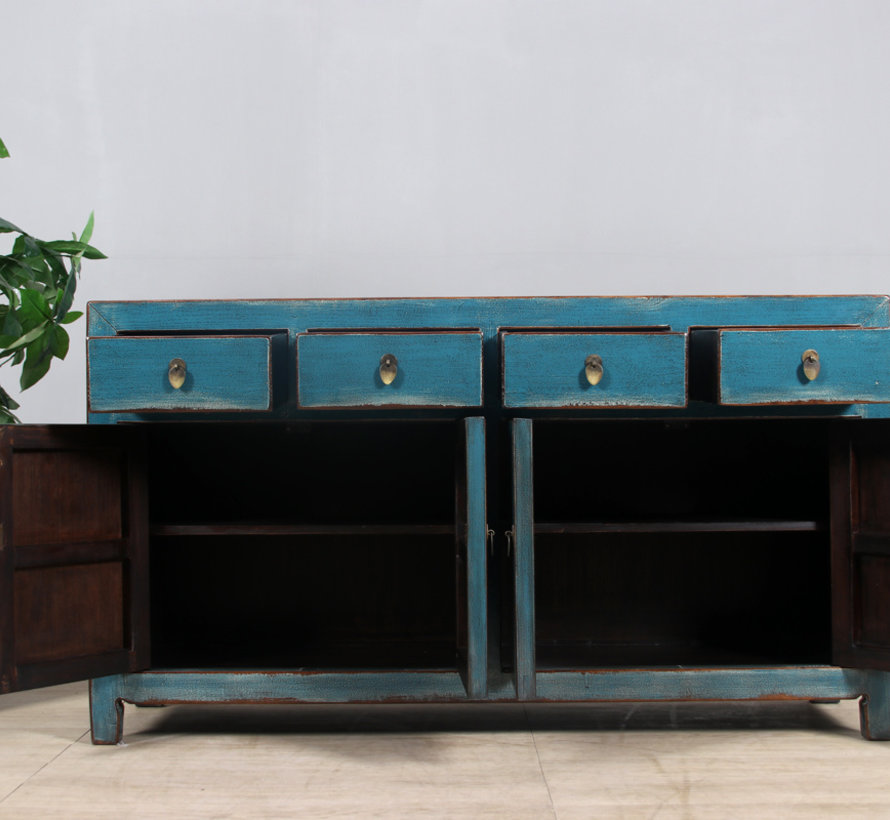Sideboard 4 doors 4 drawers long storage cabinet used blue