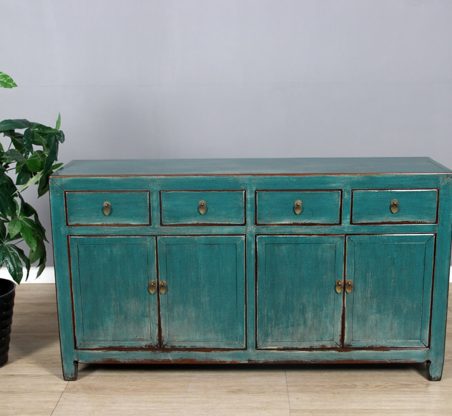 Sideboard 4 doors 4 drawers long storage cabinet used turquoise