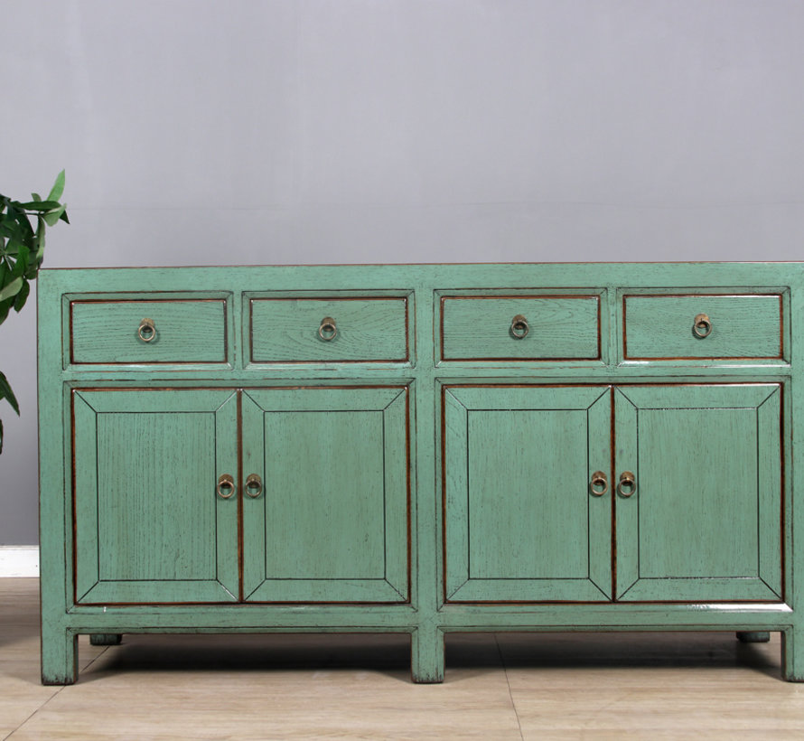 Sideboard 4 doors 4 drawers long storage cabinet used Mint green