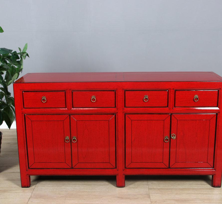 Sideboard 4 Türen 4 Schubladen langer Vorratsschrank rot