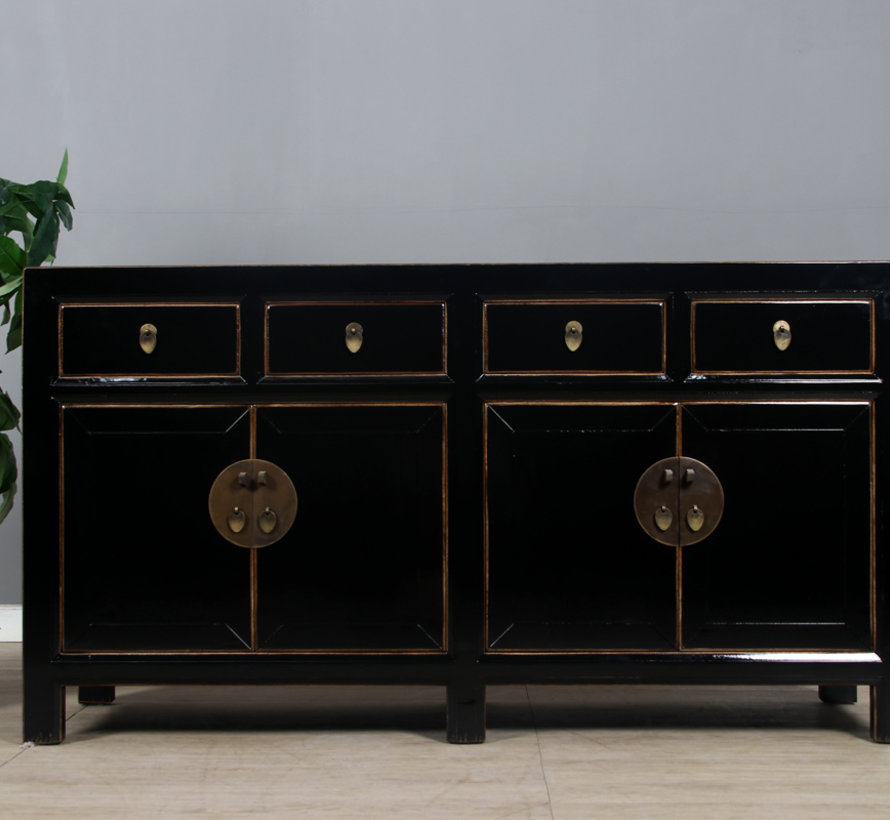 Sideboard 4 doors 4 drawers long storage black