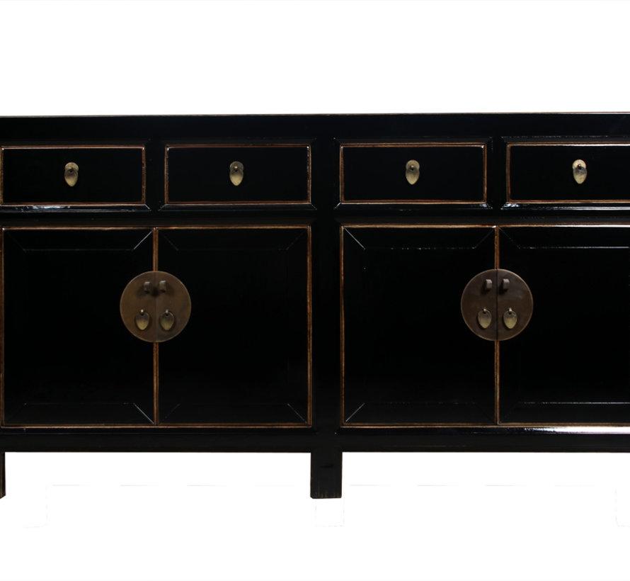 Sideboard 4 Türen 4 Schubladen langer Vorratsschrank schwarz