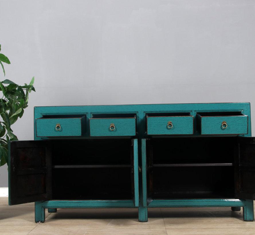 Sideboard 4 Türen 4 Schubladen langer Vorratsschrank türkis
