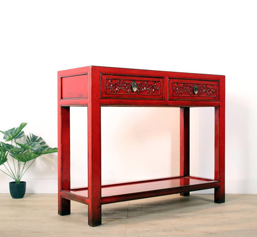 Konsole Konsolentisch mit 2 Schubladen aus massivem Holz rot
