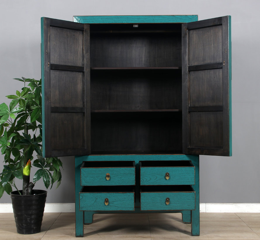 Chinese wedding cabinet 2 doors 4 drawers turquoise