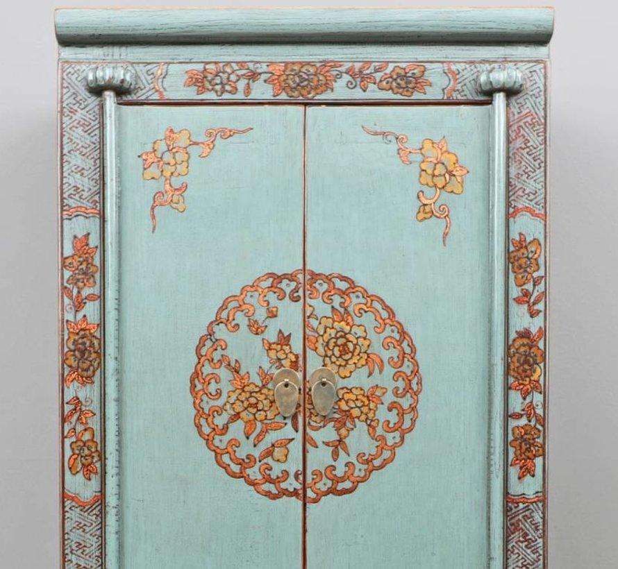 Chinesischer Hochzeitschrank 2 Türen 1 Schublade bemalt