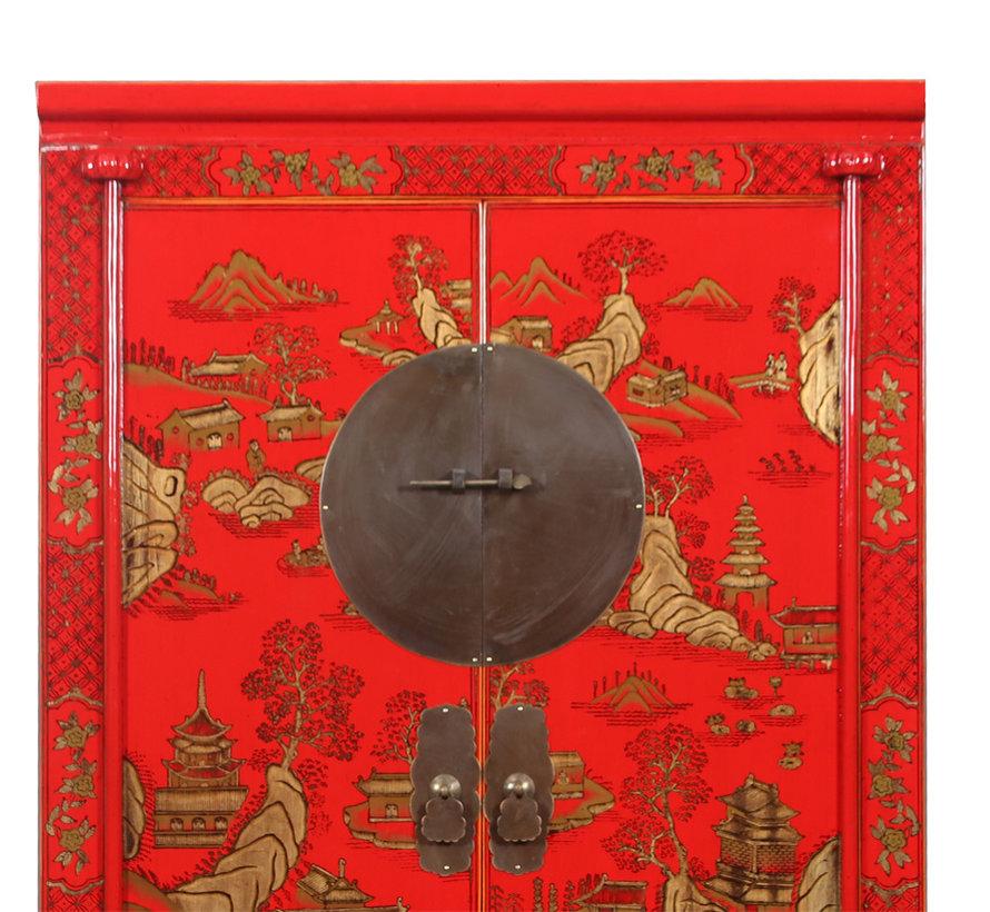 Hochzeitsschrank Handvergoldung Bemalung rot Landschaft