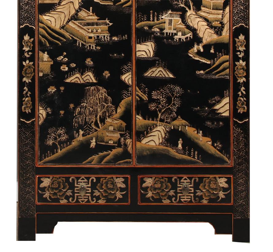 Wedding cabinet gilding painting black landscape