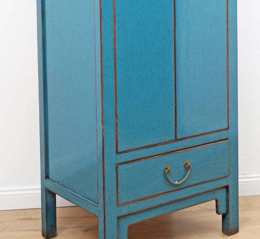 Chinesischer Hochzeitschrank 2 Türen 1 Schublade blau
