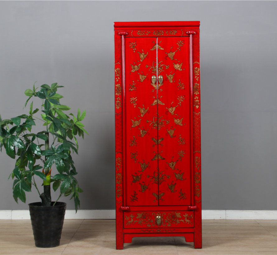 Cabinet with hand painting butterfly red