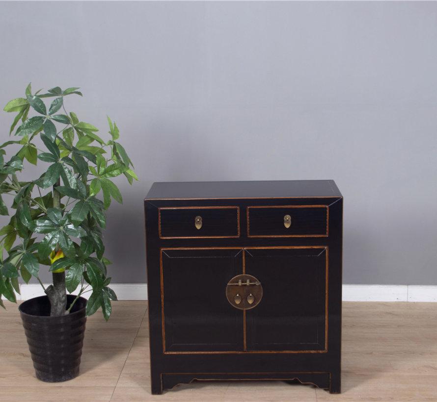Chinesische Kommode Schrank Doppeltüren 2 Schubladen schwarz