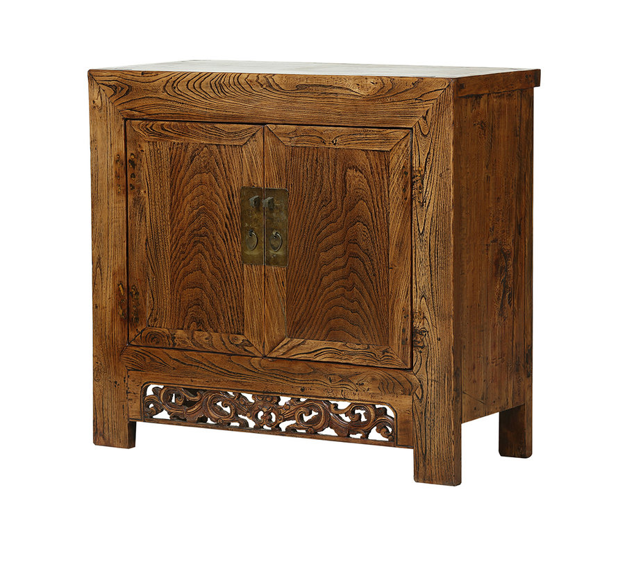 Antique chest of drawers from China 2 doors natural wood