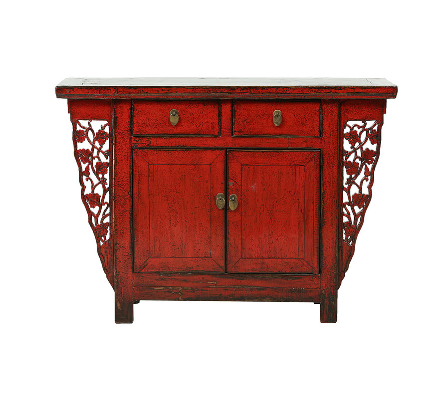 Antique Chinese dresser 2 doors 2 drawers red