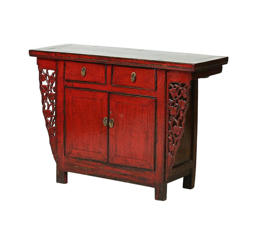Antike chinesische Kommode 2 Türen 2 Schubladen rot