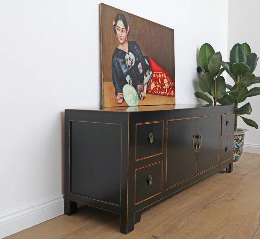 Chinese dresser sideboard 2 doors 4 drawers black