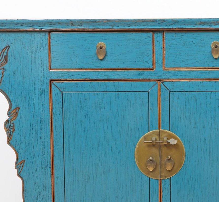 Antike chinesische Kommode 2 Türen 2 Schubladen blau