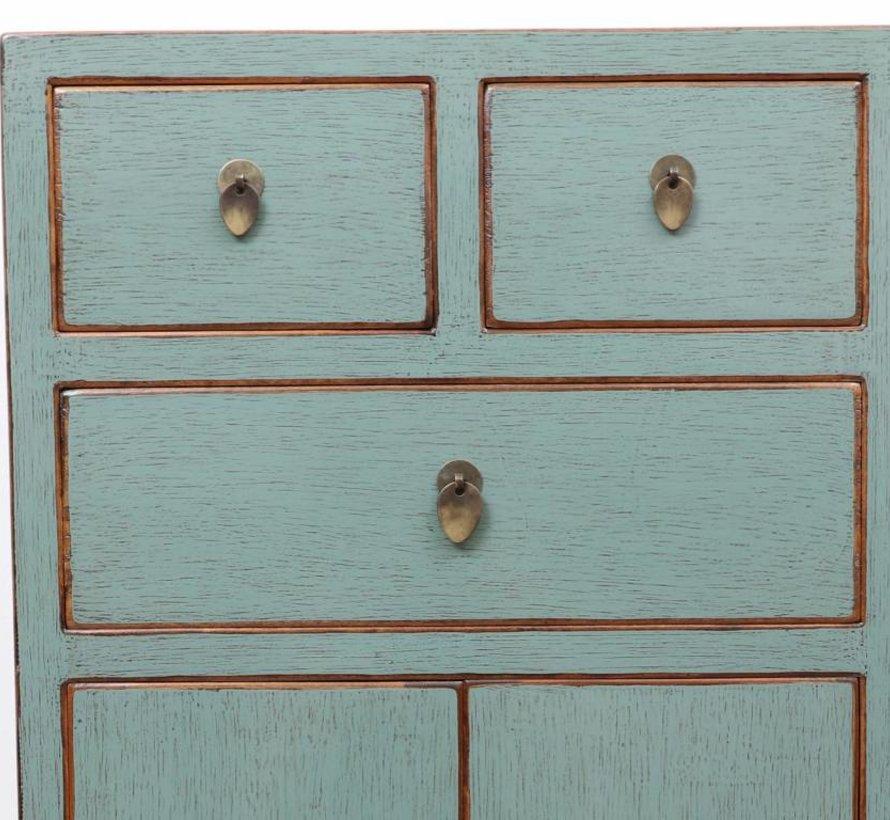 chinesische Kommode Sideboard 3 Schubladen 2 Türen lichtgrau