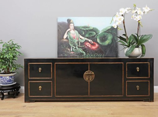 Yajutang Sideboard 2 doors 4 drawers black