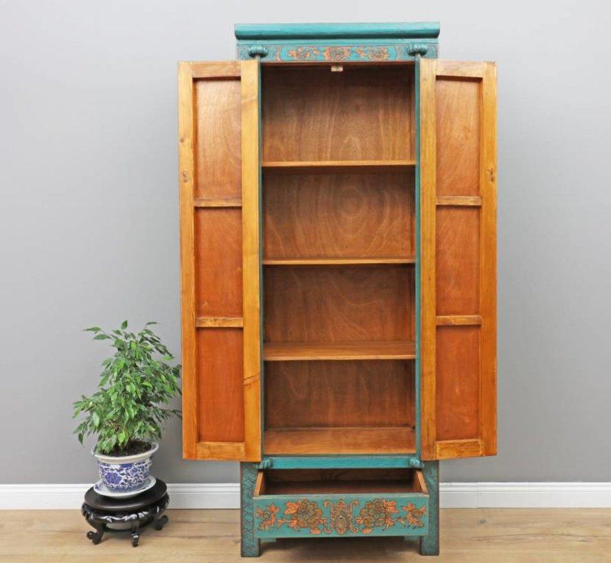 Chinese wedding cupboard 2 doors 1 drawer painted