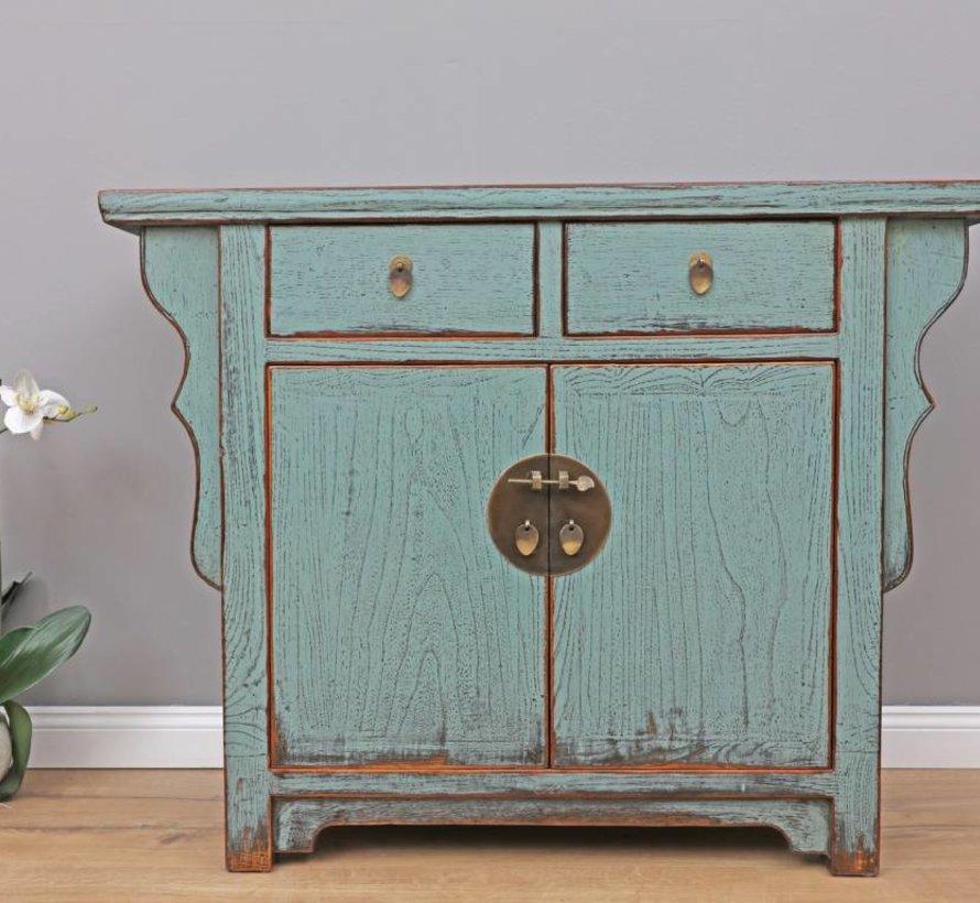Antique Chinese dresser sideboard 2 doors 2 drawers grey