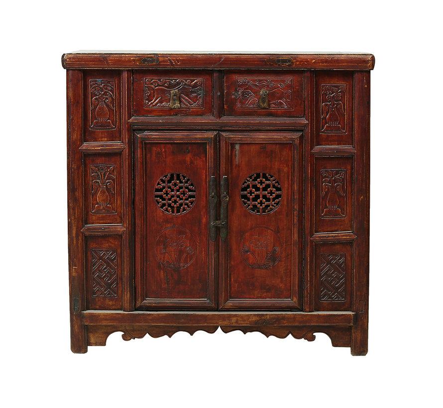 Antike chinesische Kommode 2 Türen mit Schnitzereien braun