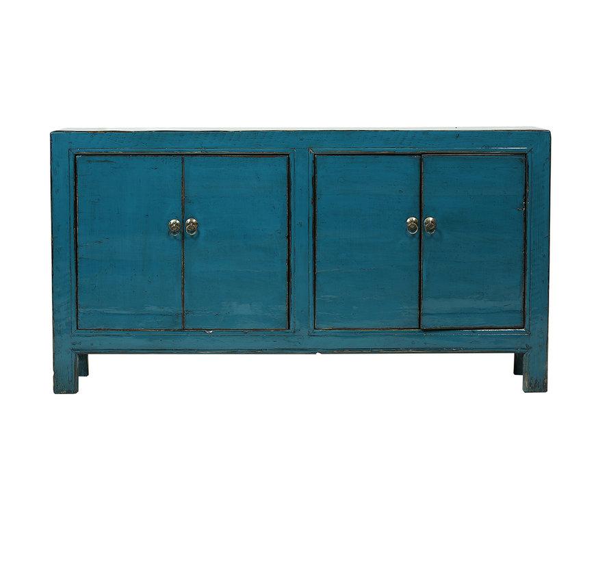 Antikes chinesisches Sideboard 4 Türen blau