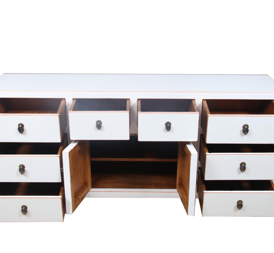 Sideboard 2 Türen 8 Schubladen weiß