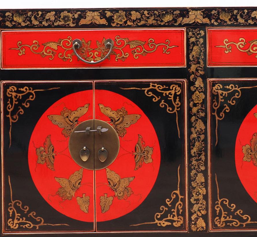 chinesisches Sideboard Handbemalung Schmetterling schwarz und rot