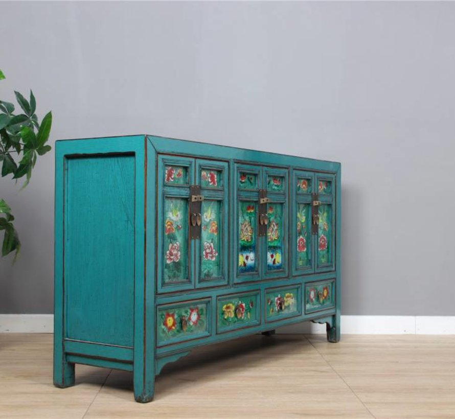 Sideboard with painting on glass Gansu Province west china rustic
