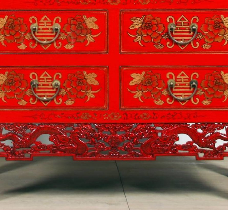 Hochzeitsschrank Handvergoldung Bemalung rot mit Drache Schnitzen