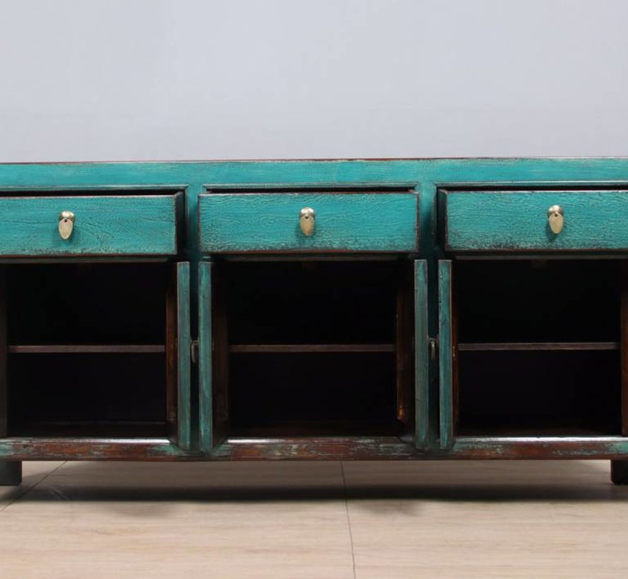 Sideboard 6 Türen 3 Schubladen langer Vorratsschrank used türkis