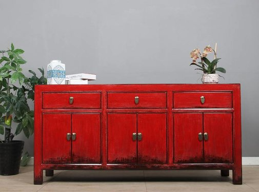 Yajutang Sideboard 6 doors 3 drawers red