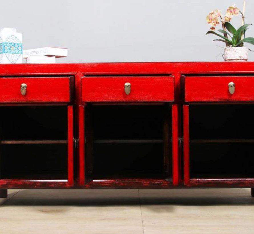 Sideboard 6 doors 3 drawers long storage cabinet used red