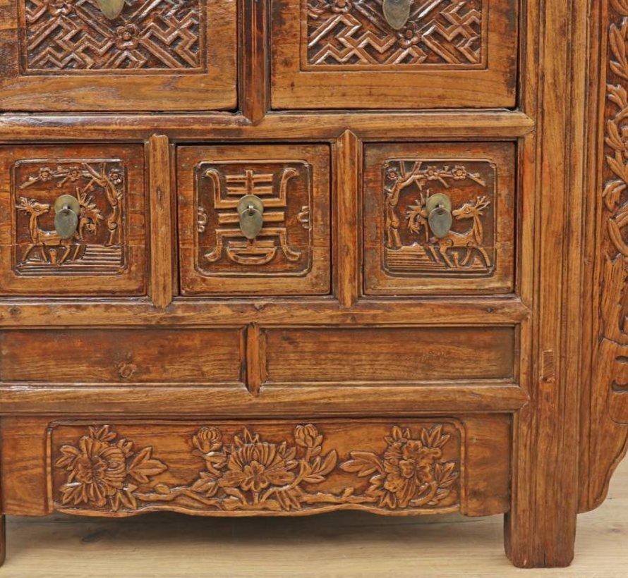 Antike chinesische Kommode Sideboard 5 Schubladen natur