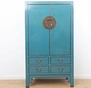 Yajutang Antiker Hochzeitsschrank 2 Türen blau