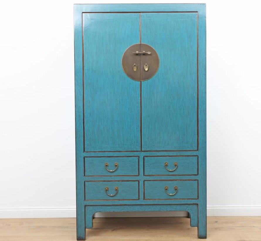 Antique Chinese wedding cabinet 2 doors 4 drawers blue
