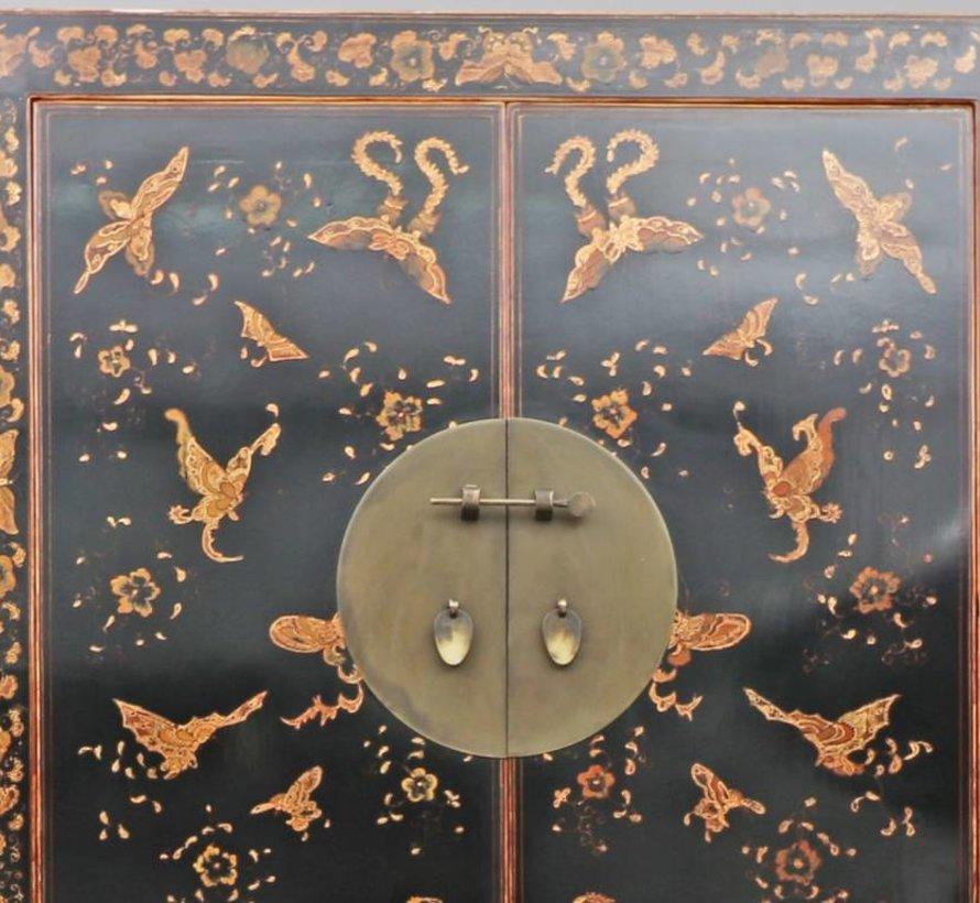 Chinesischer Hochzeitsschrank 2 Türen 2 Schubladen bemalt