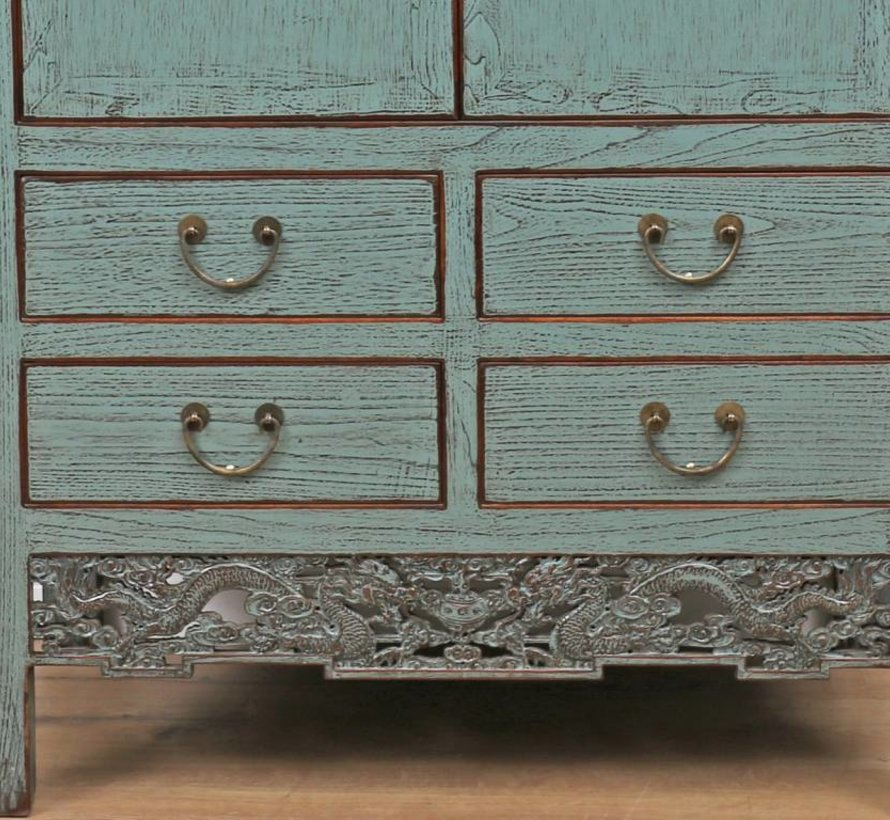 Antique Chinese cabinet wedding cabinet 2 doors 4 drawers gray