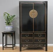 Yajutang Antiker Hochzeitsschrank 2 Türen schwarz
