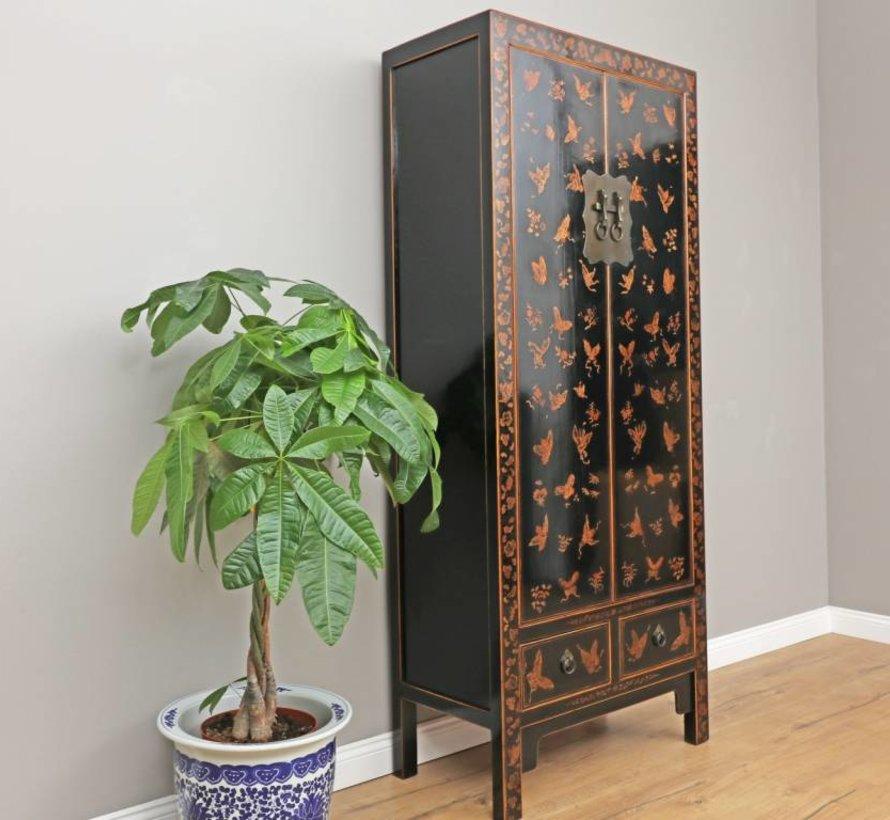 Chinesischer Hochzeitschrank 2 Türen 2 Schubladen bemalt schwarz